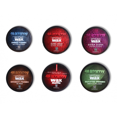Gummy cire (wax) professionnel 1 Hard Finish x1 Ultra Hold x1 Extra Gloss X1 Bright Finish x1 Matte
