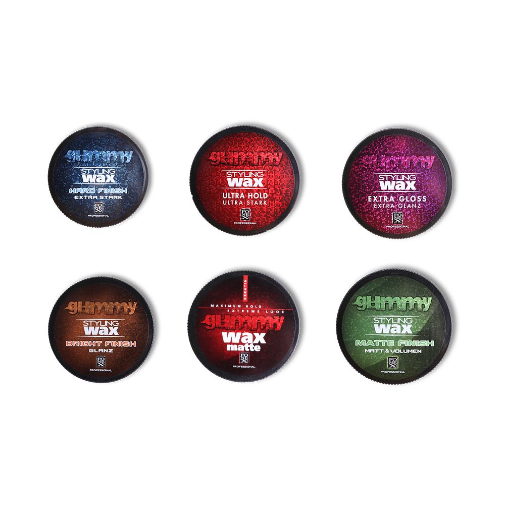 Gummy cire (wax) professionnel 1 Hard Finish x1 Ultra Hold x1 Extra Gloss X1 Bright Finish x1 Matte